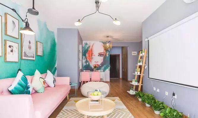 ▽ins风还善于利用地面装饰,不仅可以增添空间的色彩美,也能呼应客厅