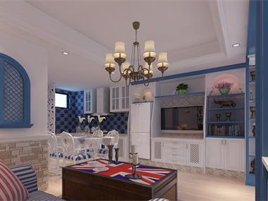 本案的设计风格为地中海,明亮、大胆、色彩丰富、简单