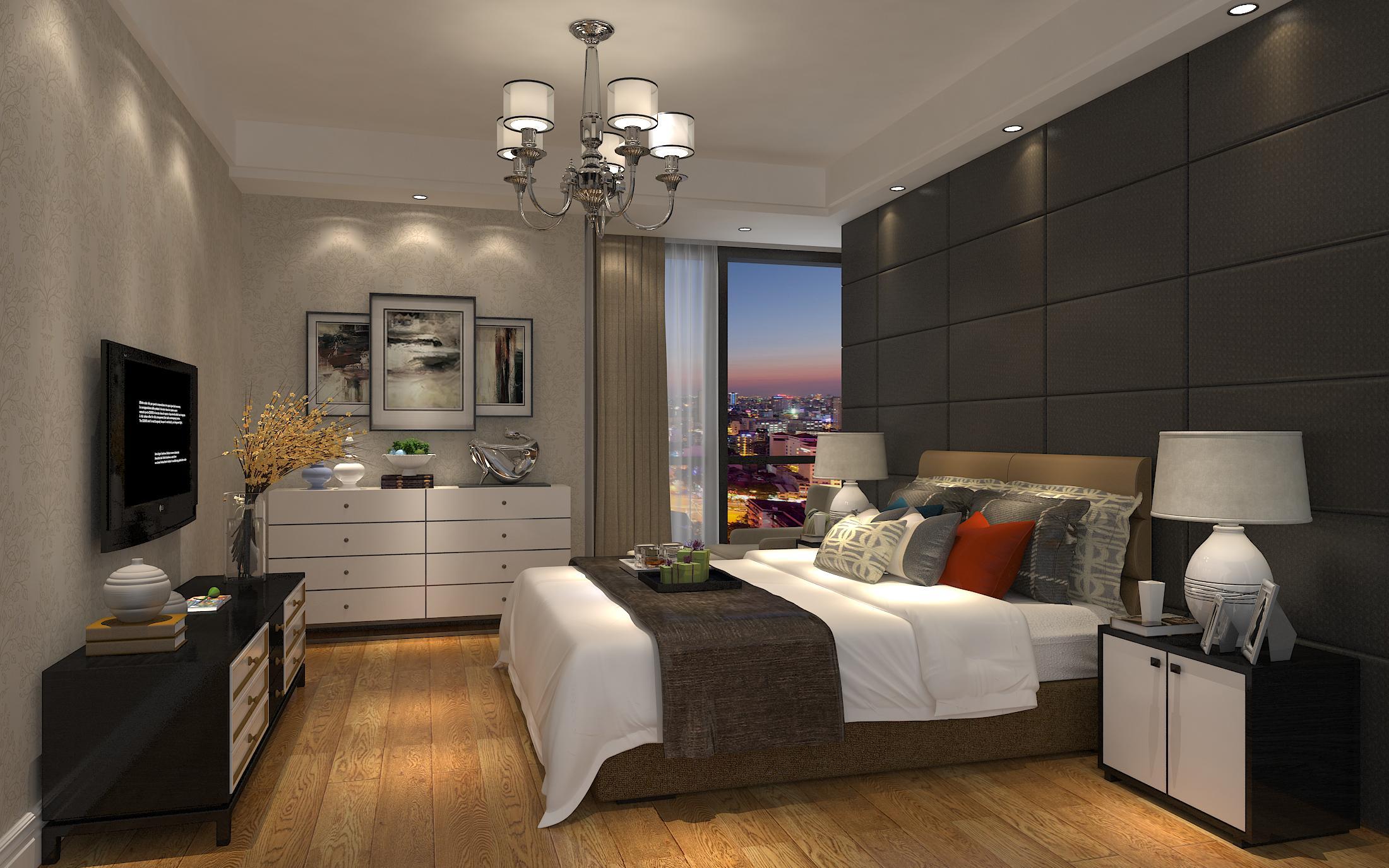 现代卧室窗户效果图