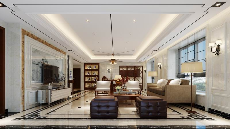 现代简欧风格,墙面都是大理石干挂,两套楼王效果图