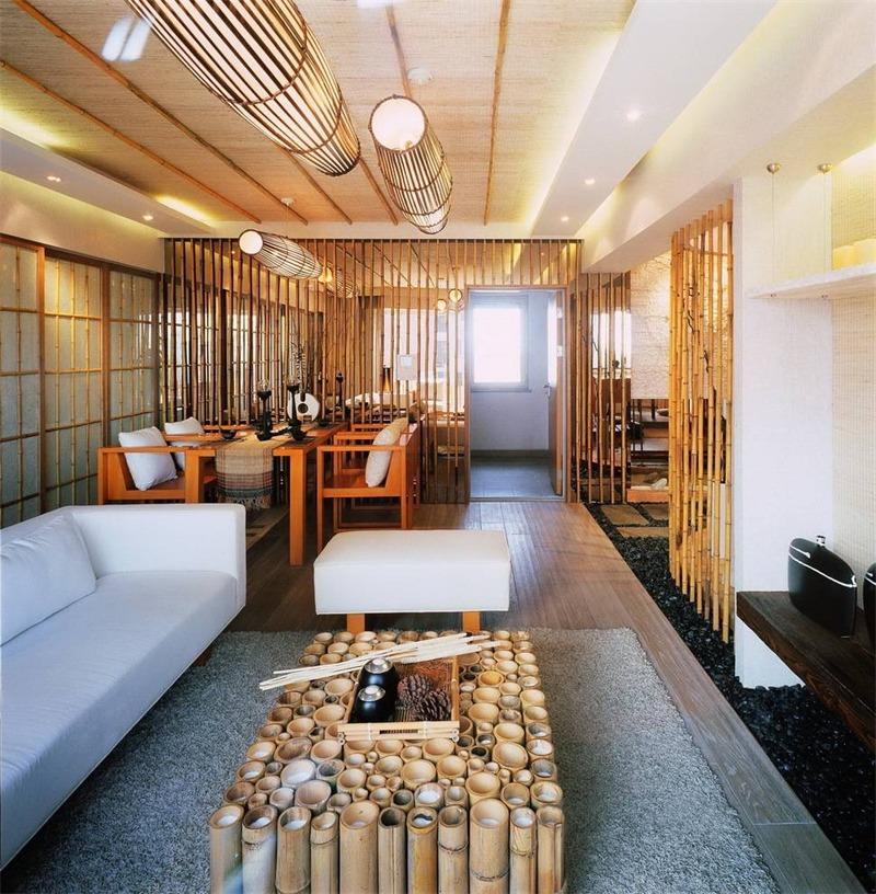 日式客厅吊顶实景图