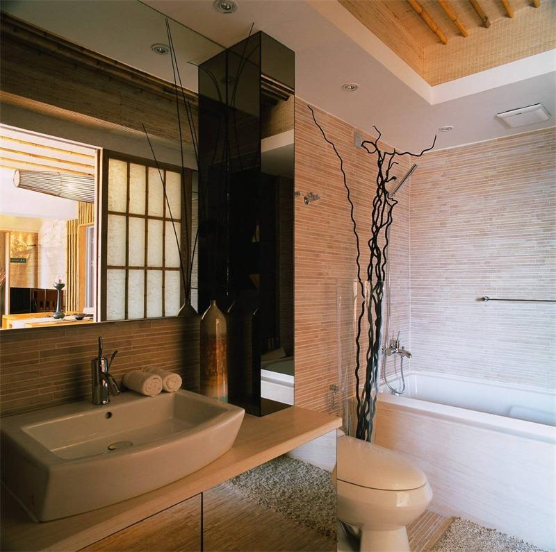 日式卫生间背景墙实景图