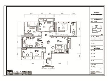 美式客厅全景平面效果图