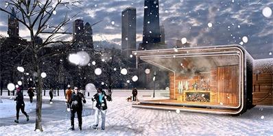 芝加哥城市温泉spa湖畔亭,效仿古罗马浴场的原型
