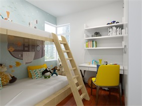 简约儿童房背景墙效果图