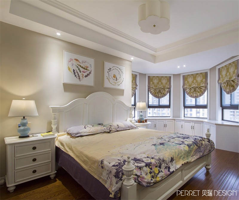 美式卧室飘窗实景图