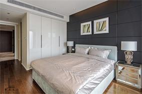 现代卧室背景墙实景图
