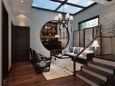 中式客厅楼梯效果图