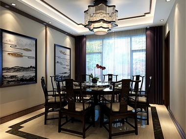 中式餐厅背景墙效果图