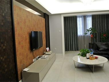 简约客厅电视背景墙实景图