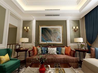 美式客厅沙发背景墙效果图