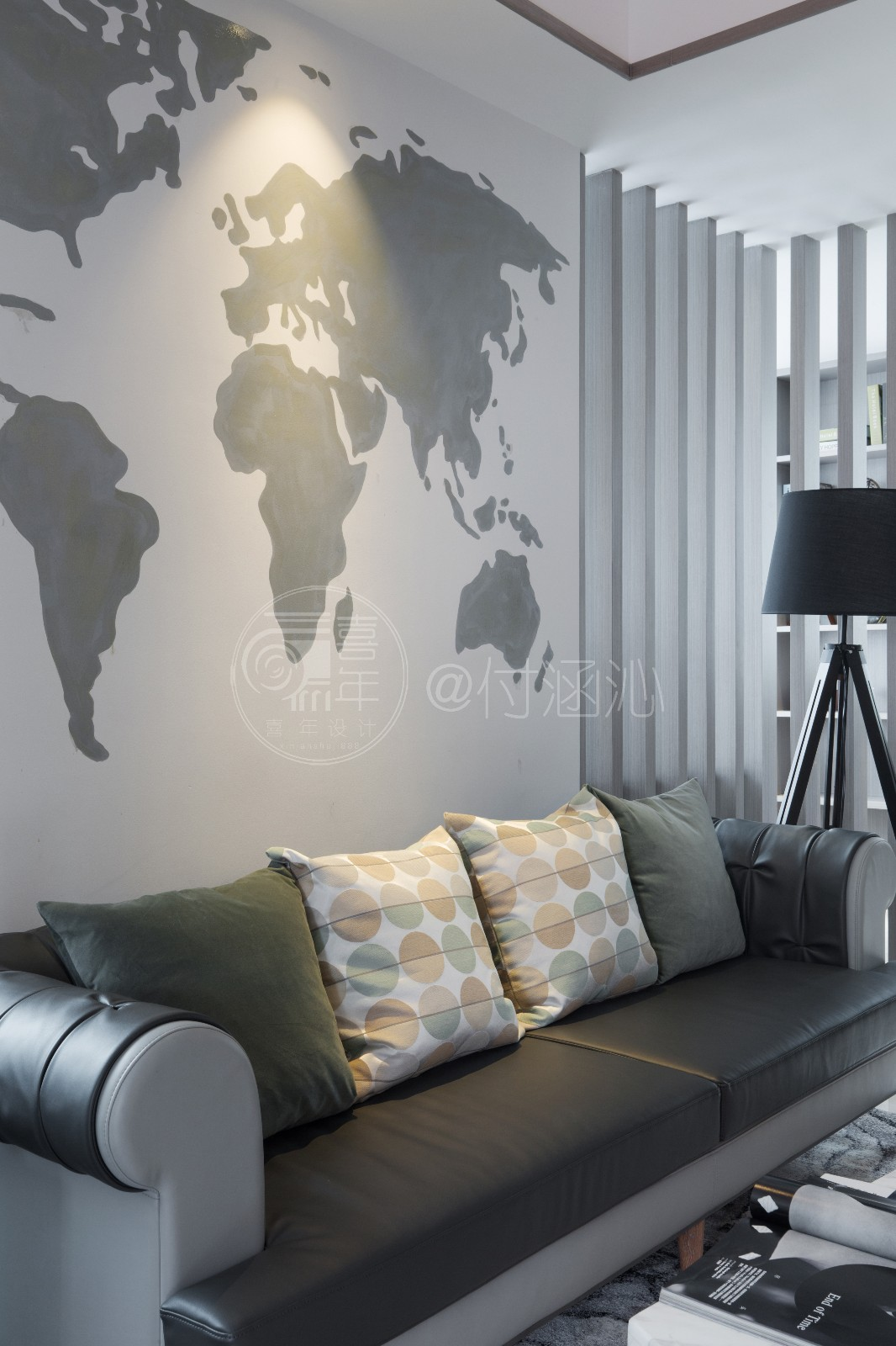 现代客厅沙发背景墙实景图