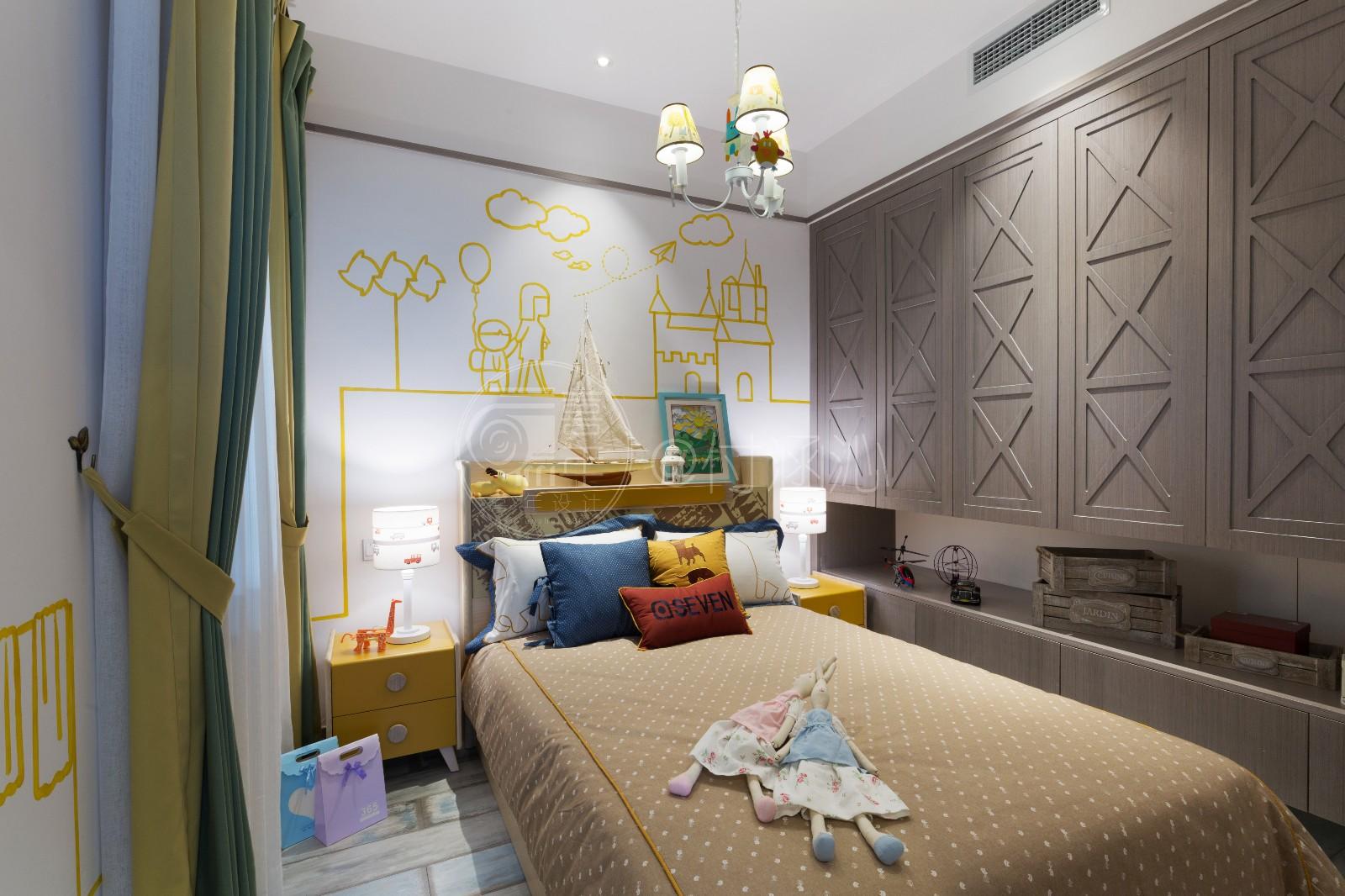 现代儿童房背景墙实景图