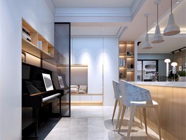 现代客厅吧台效果图