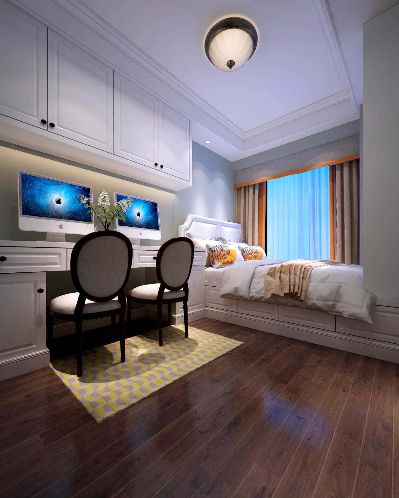 美式臥室工作區效果圖