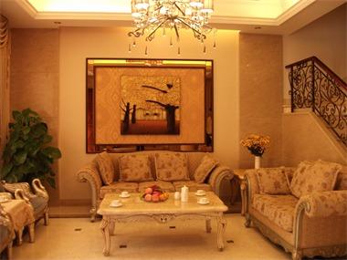 欧式客厅沙发背景墙实景图