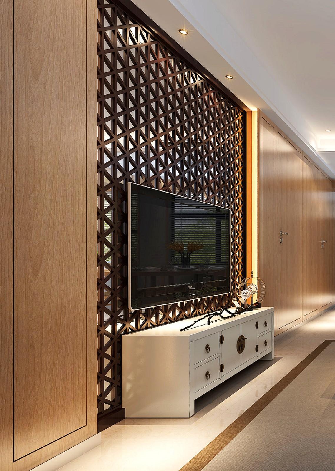 日式客厅电视背景墙效果图