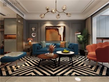 复古客厅沙发背景墙效果图