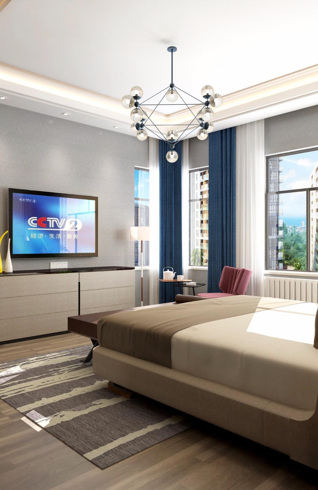现代卧室飘窗效果图