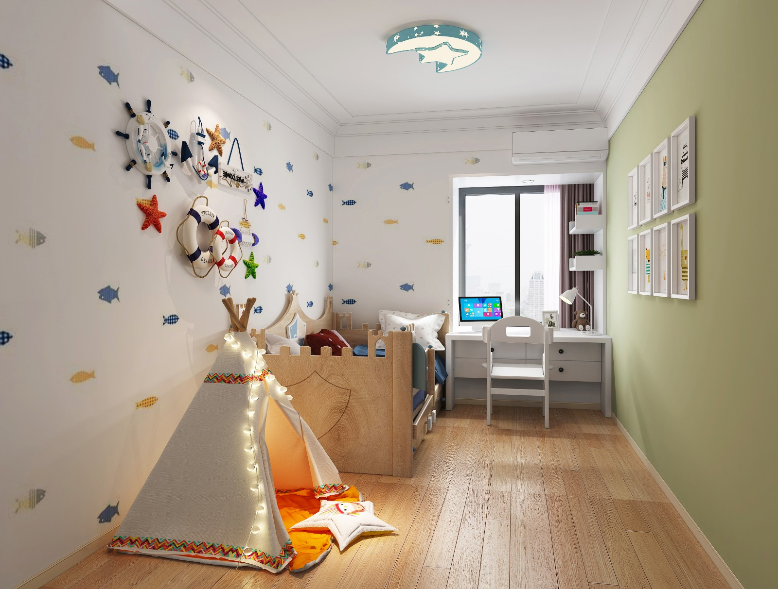 混搭儿童房背景墙效果图