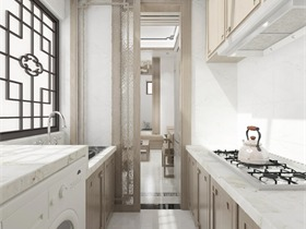 中式厨房背景墙效果图