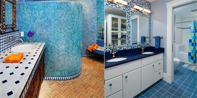 卫生间蓝色瓷砖装修效果图 享清爽海洋浴
