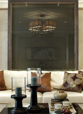 新古典客厅沙发背景墙效果图