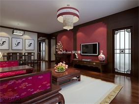 中式客厅电视背景墙实景图