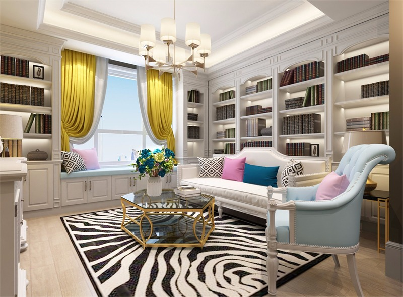 美式客厅飘窗效果图
