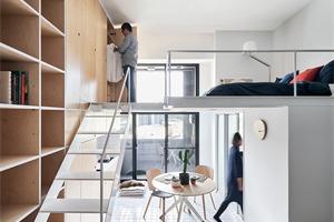 台北超小型客房,33平方米打造立体的中性空间