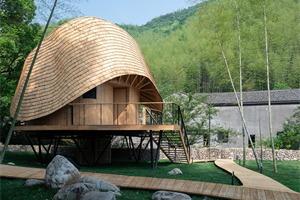 浙江TREEWOW O,扭曲屋顶的圆形木屋