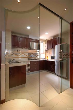 中式厨房隐形门效果图